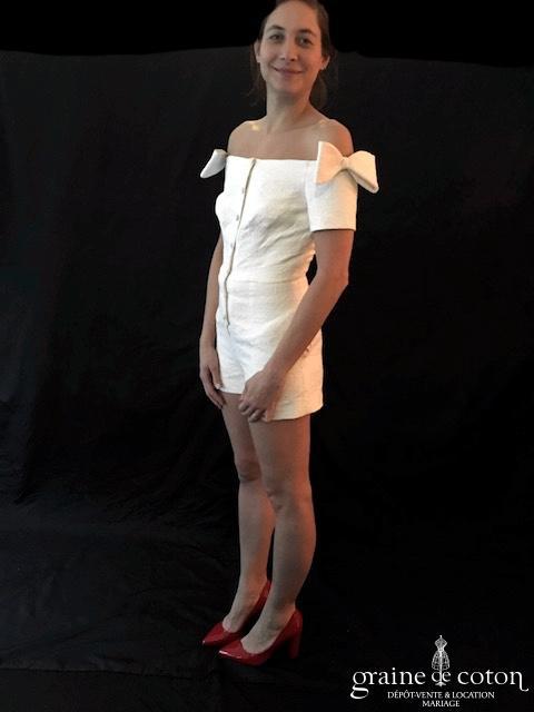Delphine Manivet - Combi short courte ivoire clair à encolure bateau (coton broché)