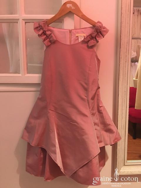 Cymbeline - Robe petite fille en taffetas mauve avec larges bretelles