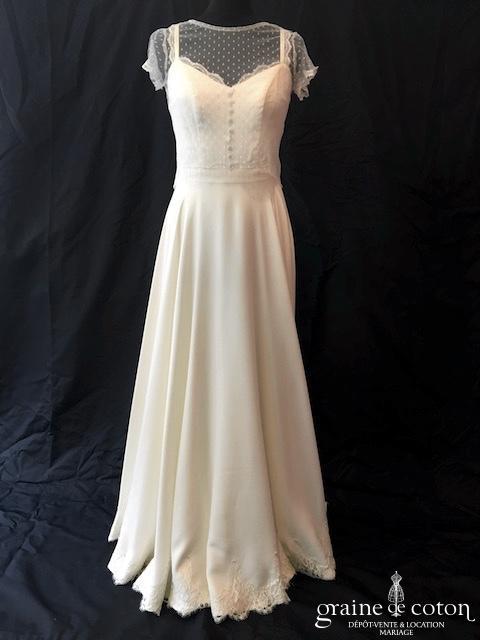 Mademoiselle de Guise - Cécilia et top en plumetis (fluide taille haute crêpe de soie dos-nu bretelles dentelle bohème noeud)