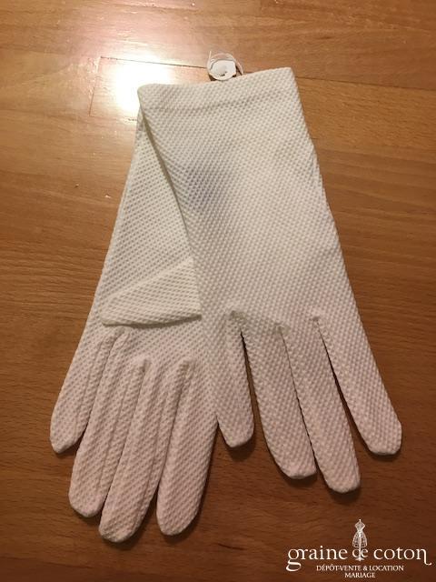 Ganteb's - Gants courts en coton ivoire clair gaufré