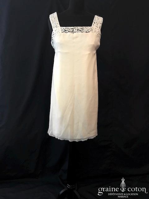 Delphine Manivet - Robe courte ou tunique en mousseline de soie et dentelle (bretelles fluide)
