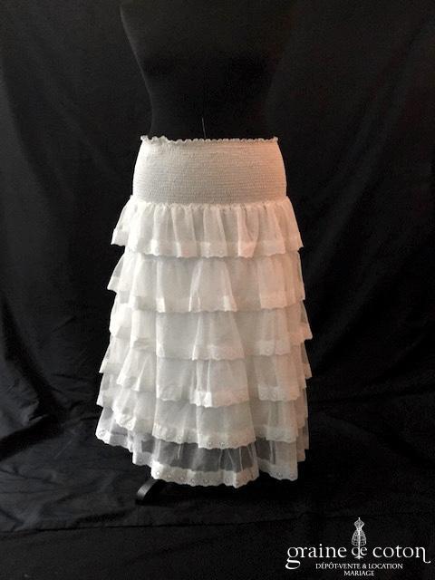Delphine Manivet - Jupe mi longue en volants de voile de coton blanc
