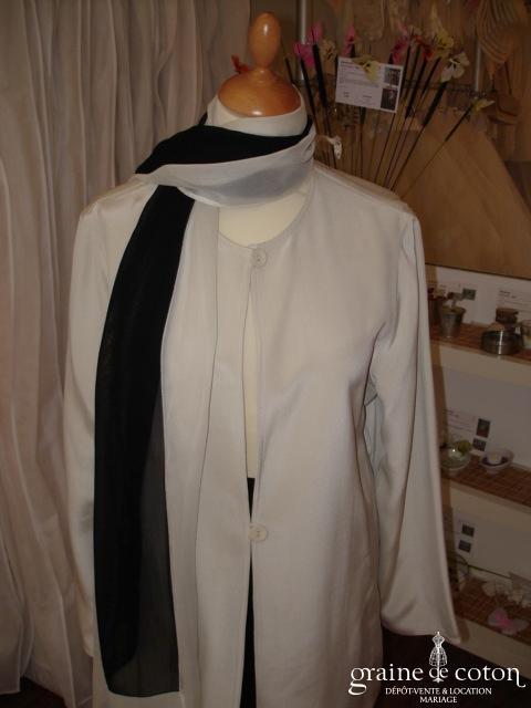 Nitya - Ensemble pantalon et tunique en voile noire et crème (non stocké en boutique, essayage sur demande)