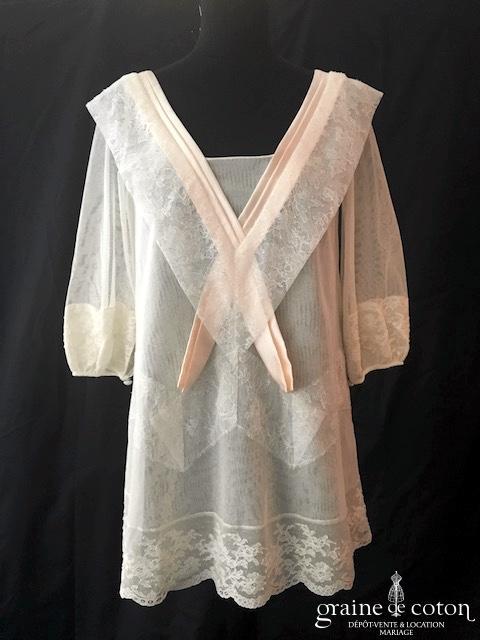 Delphine Manivet - Top tunique ou robe en tulle et dentelle fluide (manches bretelles)