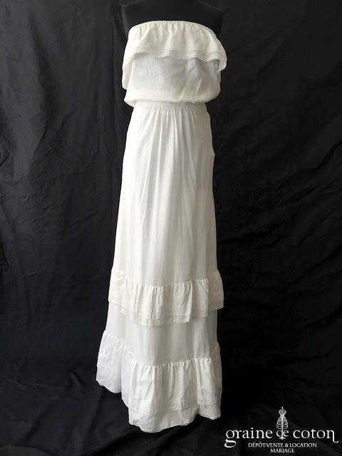 Delphine Manivet - Robe en coton blanc (bustier fluide bohème droite fourreau)