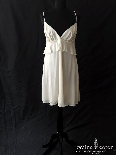 Delphine Manivet - Robe tunique courte en jersey de soie ivoire fluide (bretelles triangle)