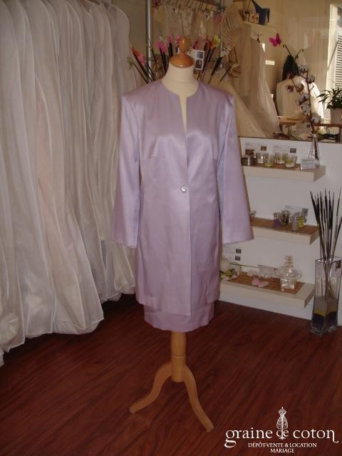 Cerruti - Tailleur jupe et veste en soie parme clair (non stocké en boutique, essayage sur demande)