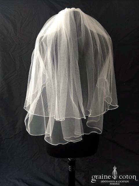 Bianco Evento - Voile double court en soft tulle ivoire surjeté (S26)