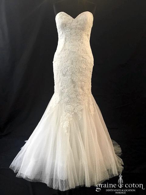 White One - Jocelyn (bustier coeur sirène dentelle fluide tulle plumetis)