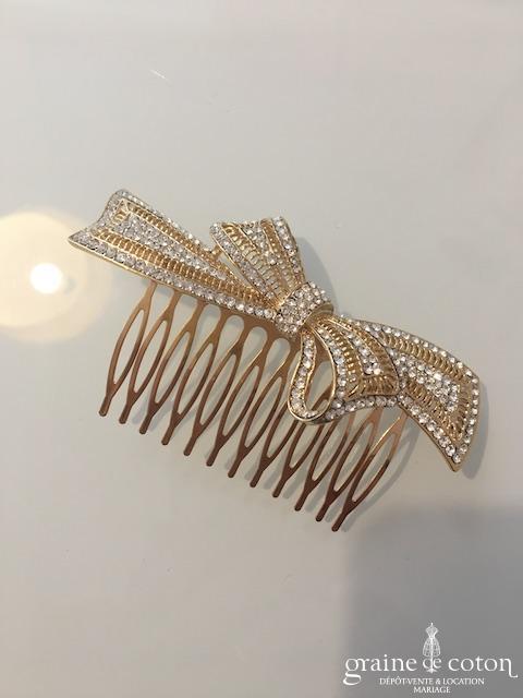 Peigne à cheveux doré noeud avec strass
