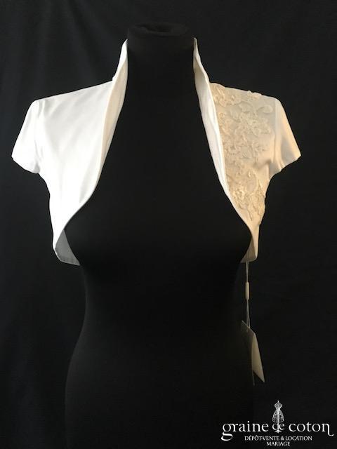 Galvan Sposa - Boléro en soie ivoire clair avec guipure de dentelle
