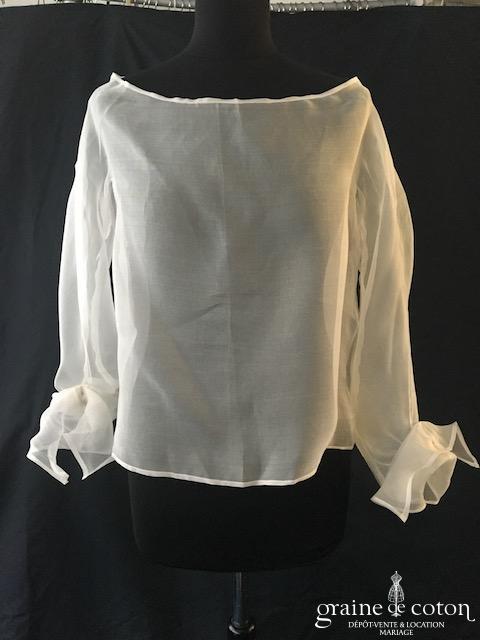 Boléro en organza de soie ivoire clair manches longues à porter ouvert sur l'arrière