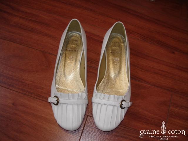 Jumelles - Ballerines en cuir blanches
