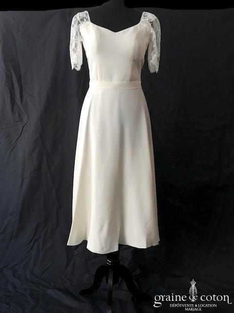 Mademoiselle de Guise - Création midi en crêpe de soie et dentelle (courte mi longue dos-nu manches bretelles fluide taille-haute)