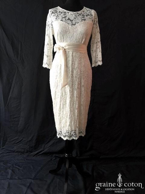Séraphine - Robe courte en dentelle ivoire (empire femme enceinte grossesse manches coeur bretelles)