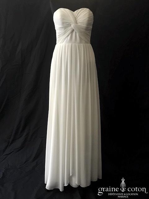 YAS - Robe fluide en mousseline ivoire (bustier drapé taille-haute bohème)
