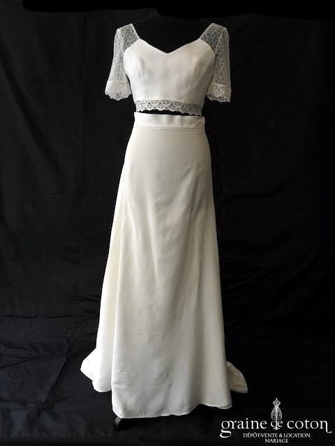 Mademoiselle de Guise - Clara et Elia (fluide bohème manches bretelles taille-haute dos boutonné jupe top crêpe mousseline de soie dentelle)
