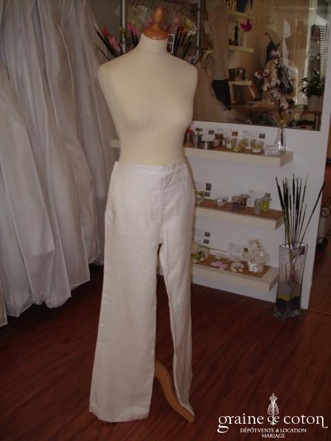 Zara - Pantalon en lin crème (non stocké en boutique, essayage sur demande)