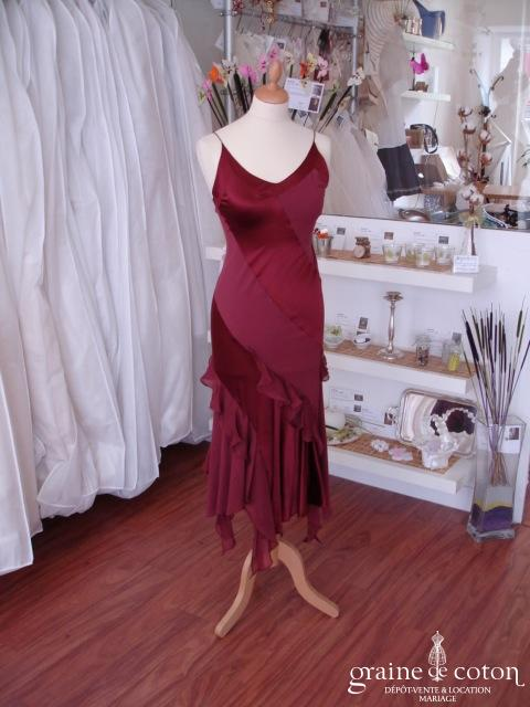 Roberto Cavalli - Robe de soirée en soie rouge sombre