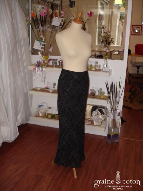 Caractère - Jupe en lin noir avec fines rayures blanches