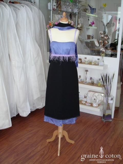 Création 100% pur moi - Robe de soirée mi longue noire et violette (non stocké en boutique, essayage sur demande)