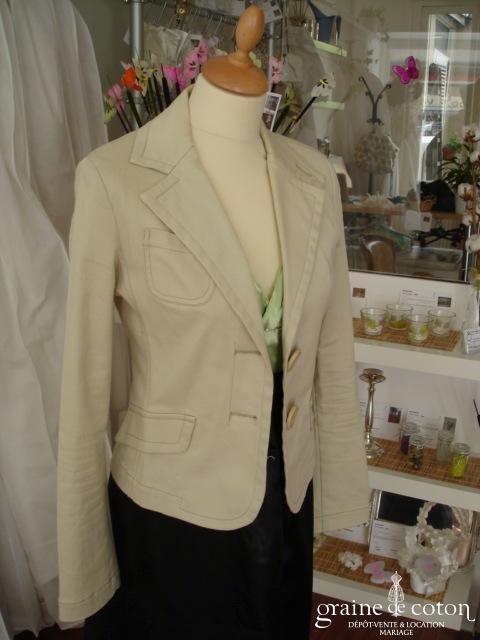Zara - Veste dégriffée en coton crème (non stocké en boutique, essayage sur demande)