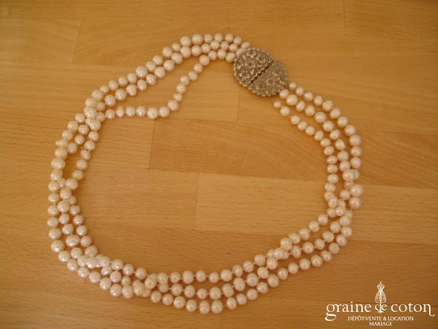 Collier de perles de culture 3 rangs