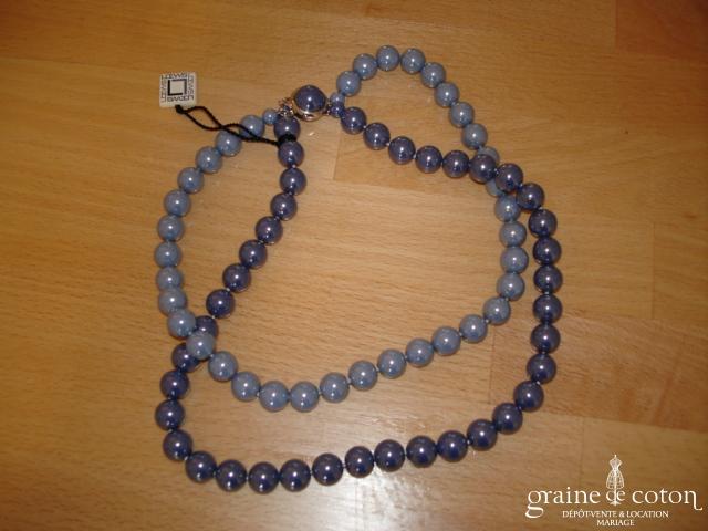 Loews - Collier de grosses perles de Majorque double rang bleu
