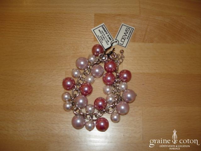 Loews - Bracelet de grosses perles  de Majorque rose