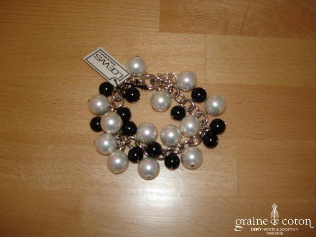 Loews - Bracelet de grosses perles  de Majorque blanc et noir