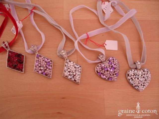 Colliers fantaisie - Losange ou coeurs strass