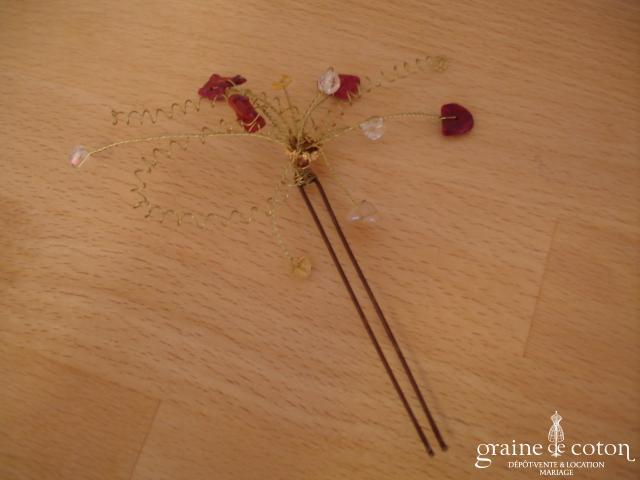 Pic à chignon pierres semi précieuses montées sur fil câblé