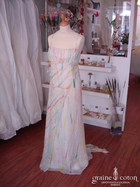 Robe de soirée en soie peinte main