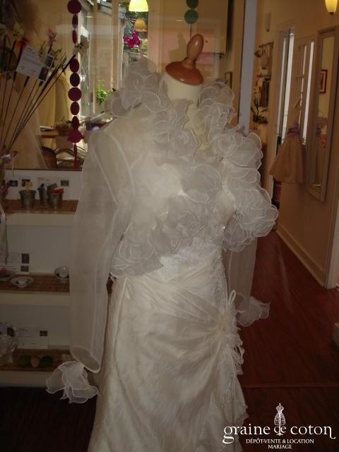 Miss Kelly - Boléro court en organza ivoire