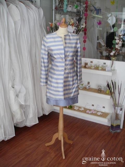 Paule Ka - Veste rayée bleue et crème en soie sauvage (non stocké en boutique, essayage sur demande)