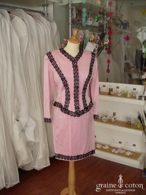 Candice Fraiberger - Tailleur Bolivie rose et noir (non stocké en boutique, essayage sur demande)