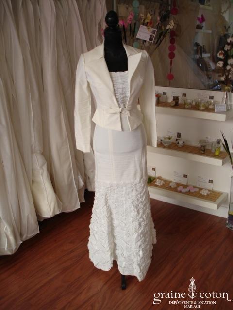 Suzanne Grignard pour Saxo - Ensemble  jupe, bustier et veste (coton)