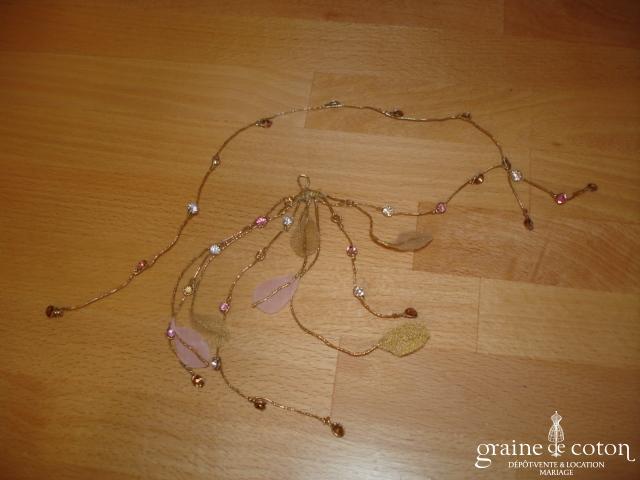 Accessoire de cheveux avec Swarovskis roses & blancs