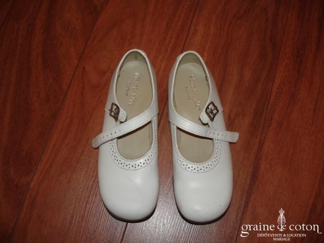 Babies (chaussures) blanches en cuir pour demoiselle d'honneur