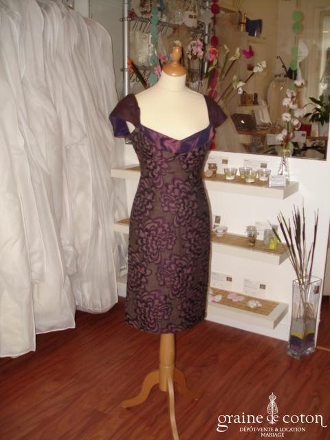 Tara Jarmon - Robe courte en soie aubergine (non stocké en boutique, essayage sur demande)