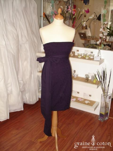 Kookaï - Robe bustier courte en coton, couleur aubergine (non stocké en boutique, essayage sur demande)