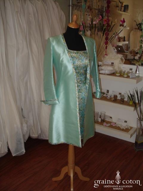 Max Chaoul - Ensemble turquoise robe en soie et veste longue en mikado de soie (non stocké en boutique, essayage sur demande)