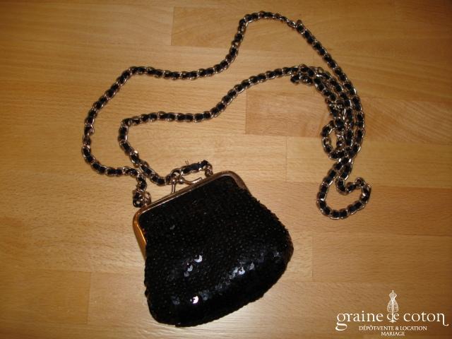 Petit sac noir à paillettes