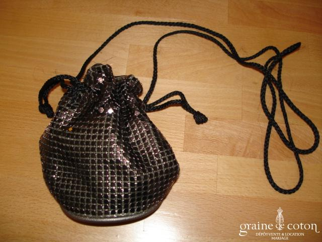Petit sac noir bourse à paillettes
