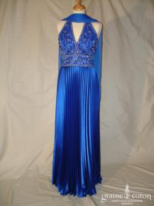 San Patrick (Pronovias) - Robe de soirée une pièce en soie bleue nuit (non stocké en boutique, essayage sur demande)