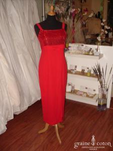 Robe de soirée taille empire mi longue rouge pailletée (non stocké en boutique, essayage sur demande)