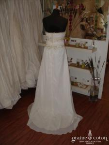 Robe bustier fluide blanche & or (empire mousseline dentelle)
