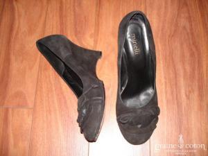 Minelli - Escarpins (chaussures) en daim noir et talons compensés