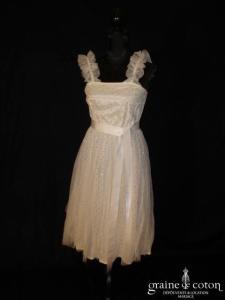 Création Alzanel - Robe courte blanche en tulle à pois-paillettes