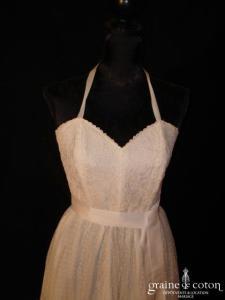 Création Alzanel - Robe courte blanche en tulle plumetis